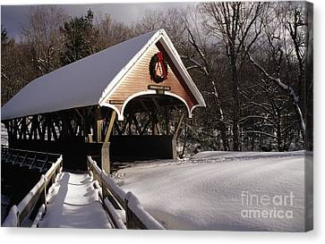 Flume Covered Bridge - Lincoln New Hampshire Usa Canvas Print by Erin Paul Donovan