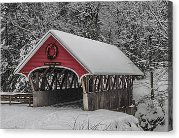 Flume Covered Bridge In Winter Canvas Print
