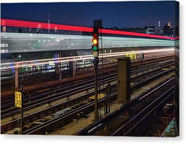 Canvas Print featuring the photograph Flushing 7 Train And Nyc Skyline by Susan Candelario