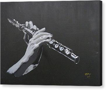 Canvas Print featuring the painting Flute Hands by Richard Le Page