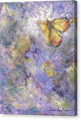 Dance Tapestries Textiles Canvas Print - Flutterby - Original Butterfly In Flight Painting by Quin Sweetman