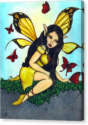 Fluttering Visitors Canvas Print by Elaina  Wagner