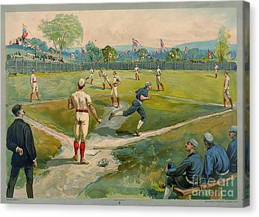 Fly Ball 1887 Canvas Print by Padre Art