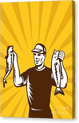 Fly Fisherman Holding Bass Fish Catch Canvas Print by Aloysius Patrimonio