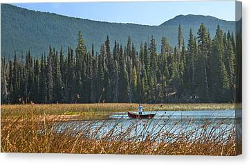 Fly Fishing Hosmer Lake Larry Darnell Canvas Print by Larry Darnell