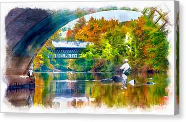 Trout Stream Landscape Canvas Print - Fly Fishing In New England by Anthony Caruso