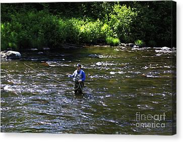 Fly Fishing In New York Canvas Print by Deborah Benoit