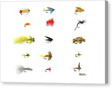 Fly Fishing Nymphs Wet And Dry Flies Canvas Print by Sharon Blanchard