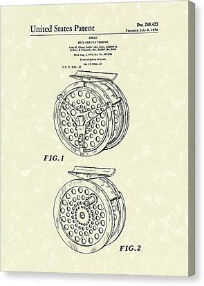 Fly Fishing Reel 1976 Patent Art Canvas Print by Prior Art Design