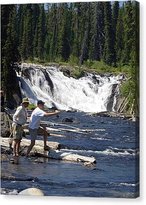 Fly Fishing The Lewis River Canvas Print by Marty Koch
