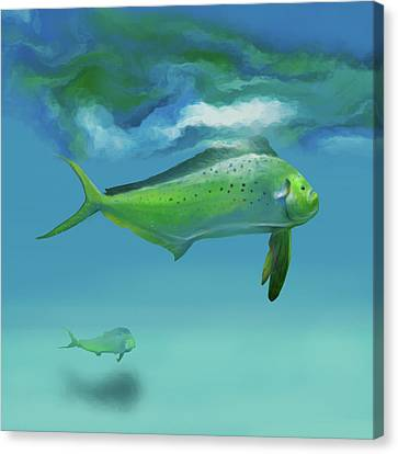 Flyfishing Dolphins Canvas Print by Mikael Jenei