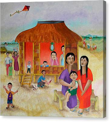 Flying A Kite With James  Canvas Print by Miriam Besa