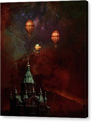 Canvas Print featuring the digital art Flying Balloons Over Stockholm by Jeff Burgess