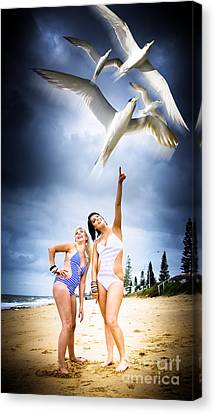 Sexy Brunette Women Canvas Print - Flying Birds by Jorgo Photography - Wall Art Gallery
