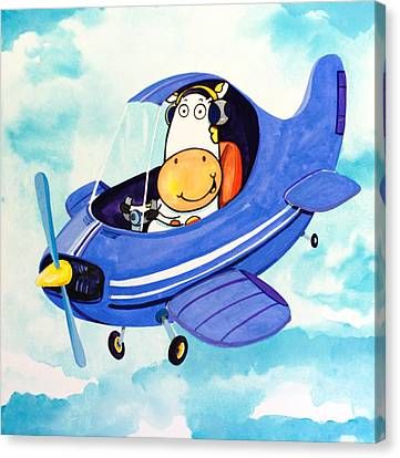 Flying Cow Canvas Print