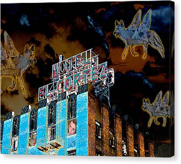 Flying Coyotes Circling The El Cortez Hotel Canvas Print