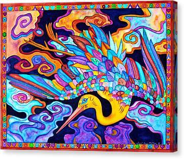 Flying Crane Canvas Print by Lori Miller