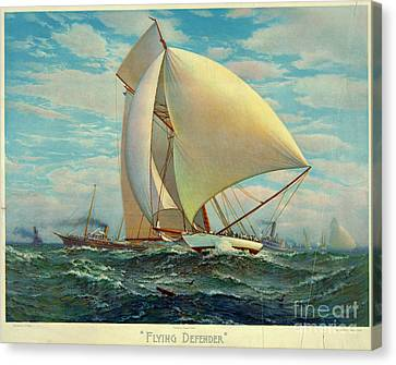 Canvas Print featuring the photograph Flying Defender 1895 by Padre Art