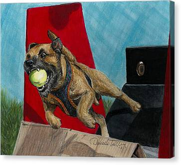 Animal Artist Canvas Print - Flying Dog by Daniele Trottier