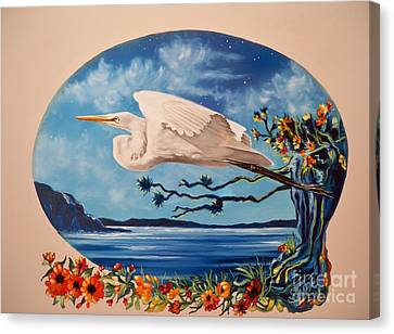 Flying Egret Canvas Print by Sigrid Tune
