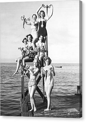 Swim Suit Canvas Print - Flying Fish At Avalon Bay by Underwood Archives