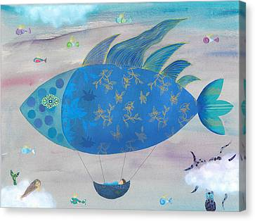 Flying Fish In Sea Of Clouds With Sleeping Child Canvas Print by Sukilopi Art