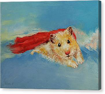 Hamster Superhero Canvas Print by Michael Creese