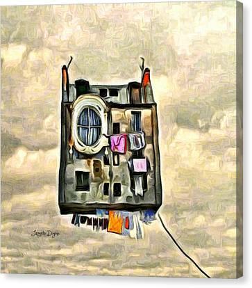 Flying House - Da Canvas Print by Leonardo Digenio
