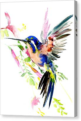 Flying Hummingbird Ltramarine Blue Peach Colors Canvas Print
