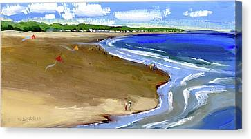 Flying Kites At The Beach Canvas Print by Mary Byrom