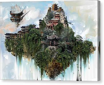 Flying Mountain And Monastery Canvas Print by Fabrizio Uffreduzzi