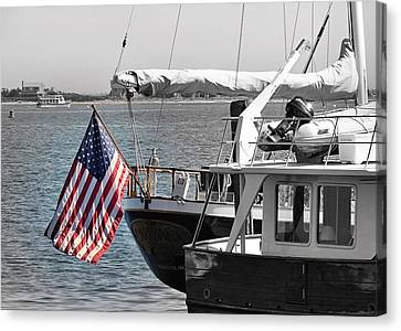 Flying Our Stars And Stripes Canvas Print by Janice Drew