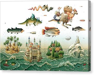 Flying Over The Sea Canvas Print by Kestutis Kasparavicius