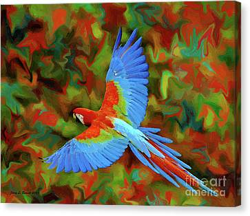Flying Parrot Canvas Print by Jerry L Barrett