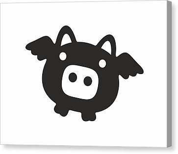 Flying Pig - Black Canvas Print by Julia Jasiczak