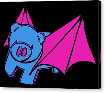Flying Piggy On Black Canvas Print