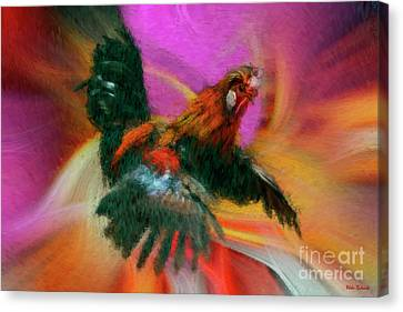 Flying Rooster Canvas Print by Blake Richards