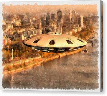 Flying Saucer Canvas Print by Esoterica Art Agency