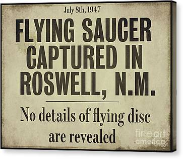 Flying Saucer Roswell Newspaper Canvas Print