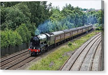 Flying Scotsman Approaching Chesterfield Canvas Print by David Birchall