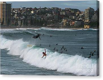 Manley Canvas Print - Flying Surfer At Manly by Andrew Michael
