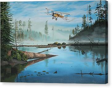 Flying The Mail Canvas Print by Kenneth Young
