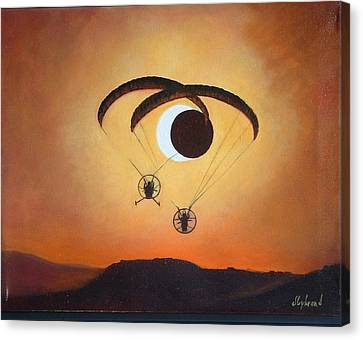 Flying The Solar Eclipse 2012 Canvas Print by Judy Lybrand
