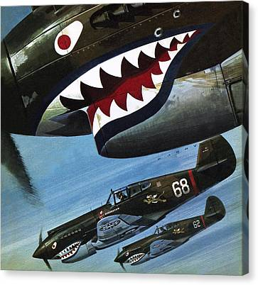 First Americans Canvas Print - Flying Tigers Over Asia by Wilf Hardy