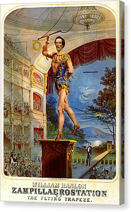 Canvas Print featuring the photograph Flying Trapeze 1850 by Padre Art