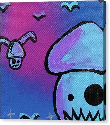 Flying Zombie Mushroom Attack Canvas Print by Jera Sky