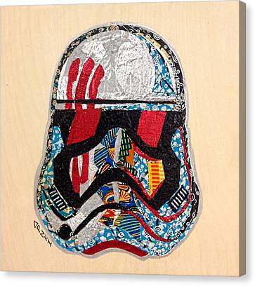 Canvas Print featuring the tapestry - textile Storm Trooper Fn-2187 Helmet Star Wars Awakens Afrofuturist Collection by Apanaki Temitayo M