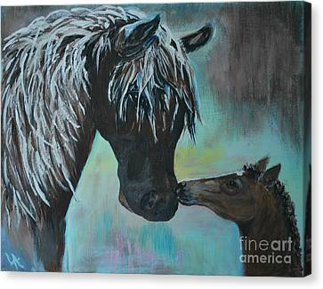 Canvas Print featuring the painting Foal Kiss by Leslie Allen
