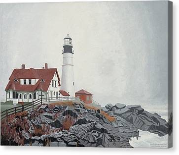 Fog Approaching Portland Head Light Canvas Print by Dominic White
