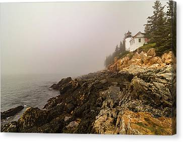 Canvas Print featuring the photograph Fog At Bass Harbor Lighthouse by Jeff Folger